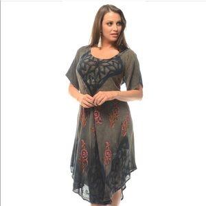 🆕 Green Unique Batik Print Boho Dress